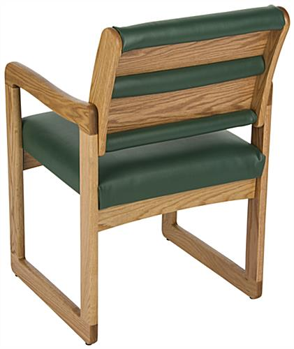 "Green Wooden Lobby Chair, 23.25"" Overall Depth"