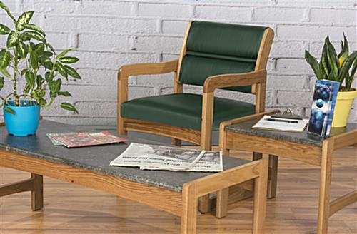 Green Wooden Lobby Chair, Supports Up to 400 lbs