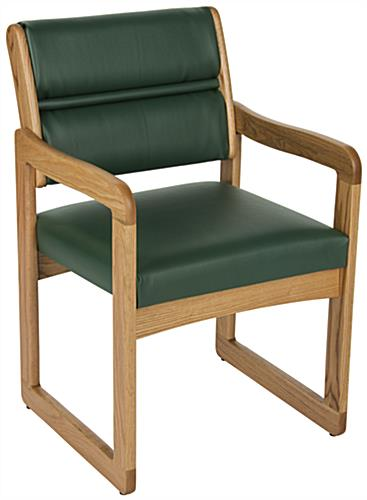 Green Wooden Lobby Chair with Vinyl Upholstery