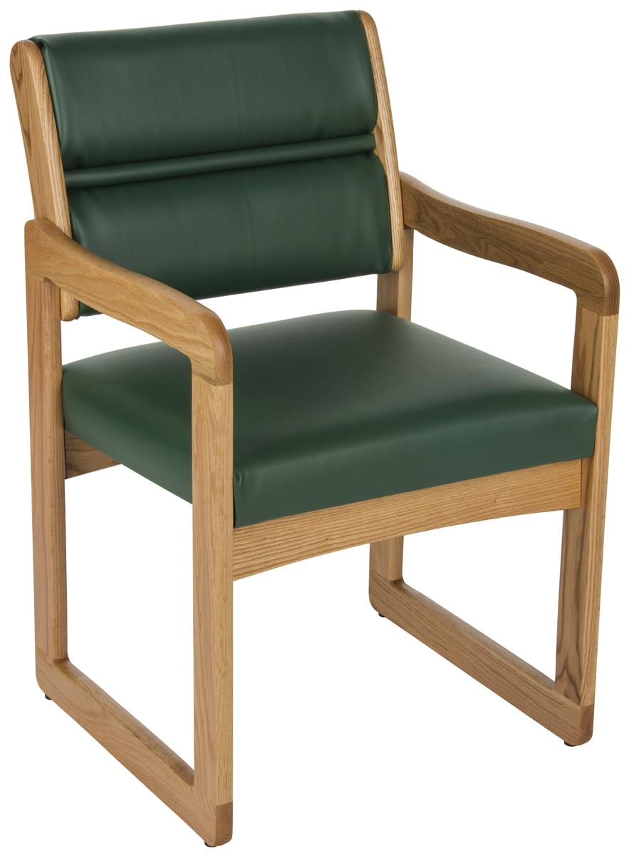 Green Wooden Lobby Chair Solid Oak With Medium Finish