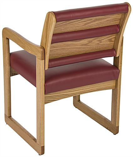"""Wine"" Wooden Lobby Chair with Vinyl Upholstry"