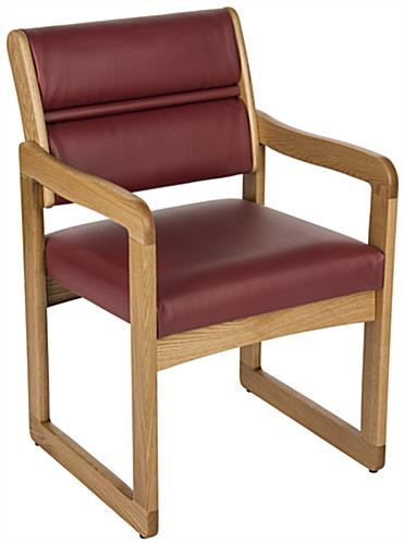 """Wine"" Wooden Lobby Chair, Weighs 28 lbs"