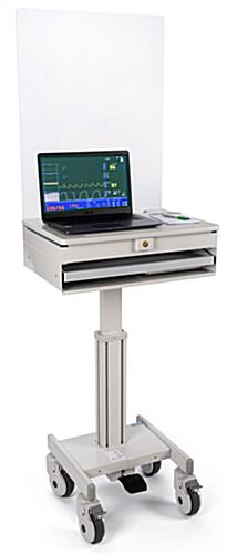Medical laptop cart with acrylic sneeze guard with locking cabinet