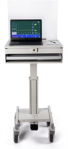 Medical laptop cart with acrylic sneeze guard with counter space for electronics and work essentials