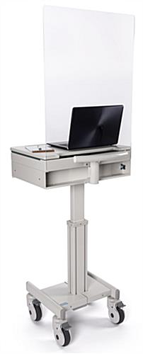 Medical laptop cart with acrylic sneeze guard for protecting medical staff