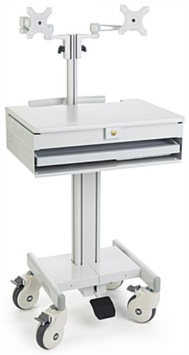 Dual Monitor Medical Cart, Sit or Stand