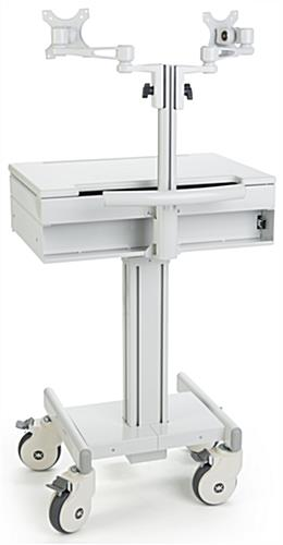 Dual Monitor Medical Cart with Wheeled Base