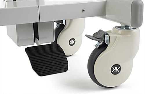 Dual Monitor Medical Cart with Height Adjusting Foot Pedal
