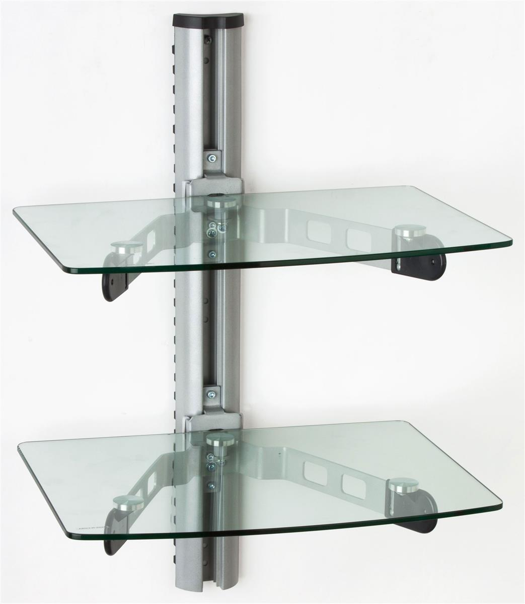 wall mounted glass shelves a v component stand. Black Bedroom Furniture Sets. Home Design Ideas