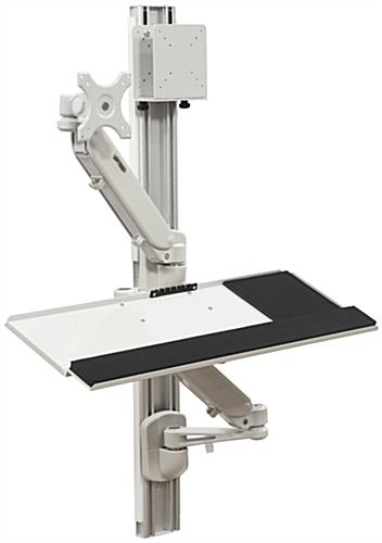 Articulated Computer Stand : Wall mounted computer workstation sit or stand