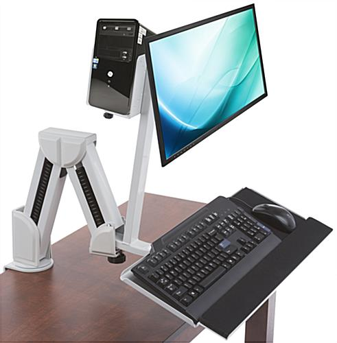"Monitor Arm w/ Keyboard Tray for 14"" - 27"" Monitors"