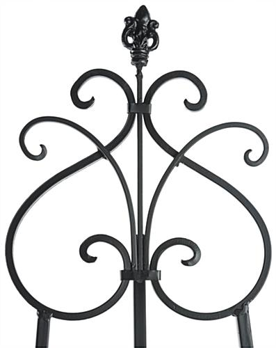 Adjustable Wrought Iron Easel with Scroll Design Topper