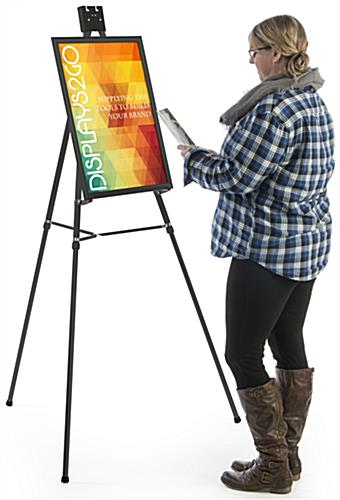 "Black Easel Stand W/ 18"" x 24"" Snap Frame with Removable Clamp"