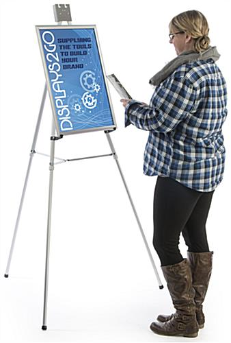 "Silver Easel Stand with 18"" x 24"" Snap Frame, Adjustable"