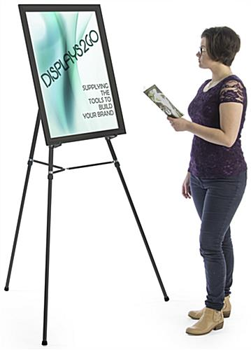 "Black Easel Stand with 22"" x 28"" Snap Frame, Floorstanding"