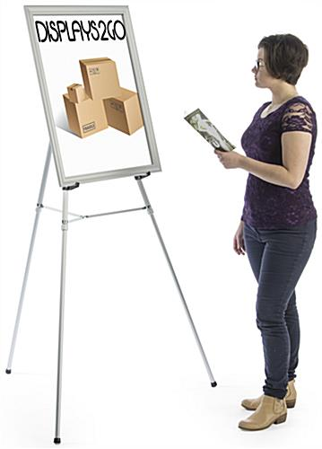 "Silver Easel Stand with 22"" x 28"" Snap Frame, 69"" Maximum Height"