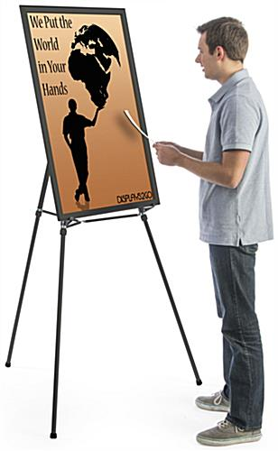 "Black Easel Stand with 24"" x 36"" Snap Frame, Hardware Included"