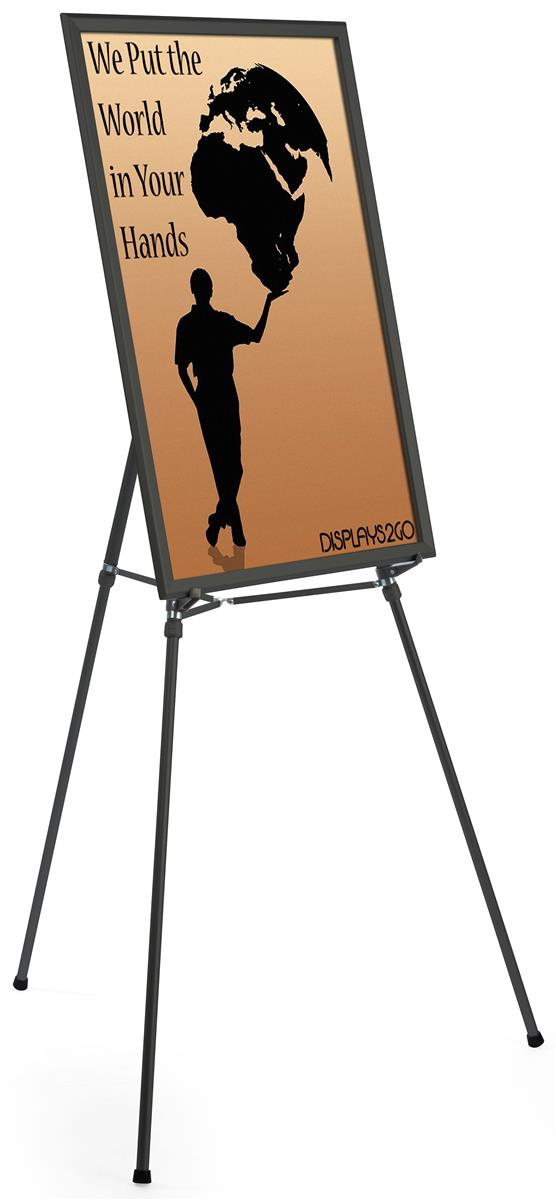 "Black Easel Stand with 24"" x 36"" Snap Frame"