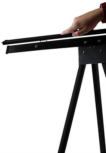 "Black Easel Stand with 36"" x 48"" Snap Frame, 84"" Tall"