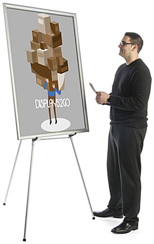 "Silver Easel Stand with 36"" x 48"" Snap Frame, Slim Profile"