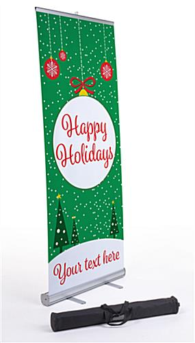 """Happy Holidays"" retractable business banner with carrying bag"