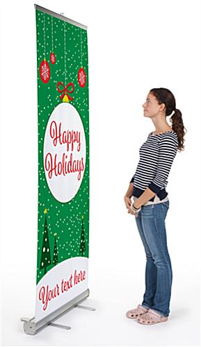 """Happy Holidays"" retractable business banner with aluminum base"