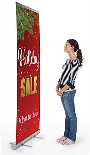 """Holiday Sale"" business banner with 33"" x 78"" graphic"