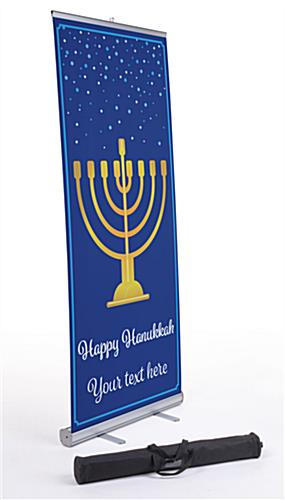 """Happy Hanukkah"" business banner with deep blue background"