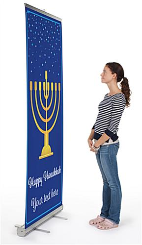 """Happy Hanukkah"" business banner with aluminum base"