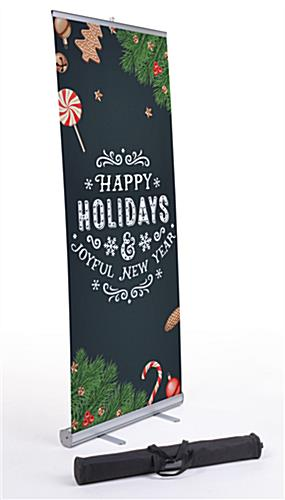 "Commercial ""Happy Holidays"" chalkboard banner with aluminum base"