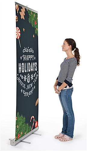 "Commercial ""Happy Holidays"" chalkboard banner with festive artwork"