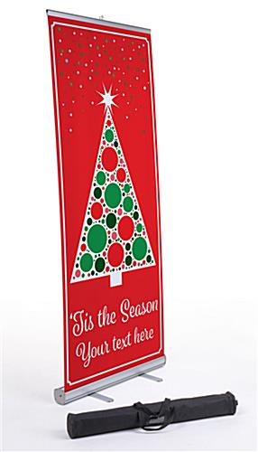 Business banner with Christmas tree with carrying bag