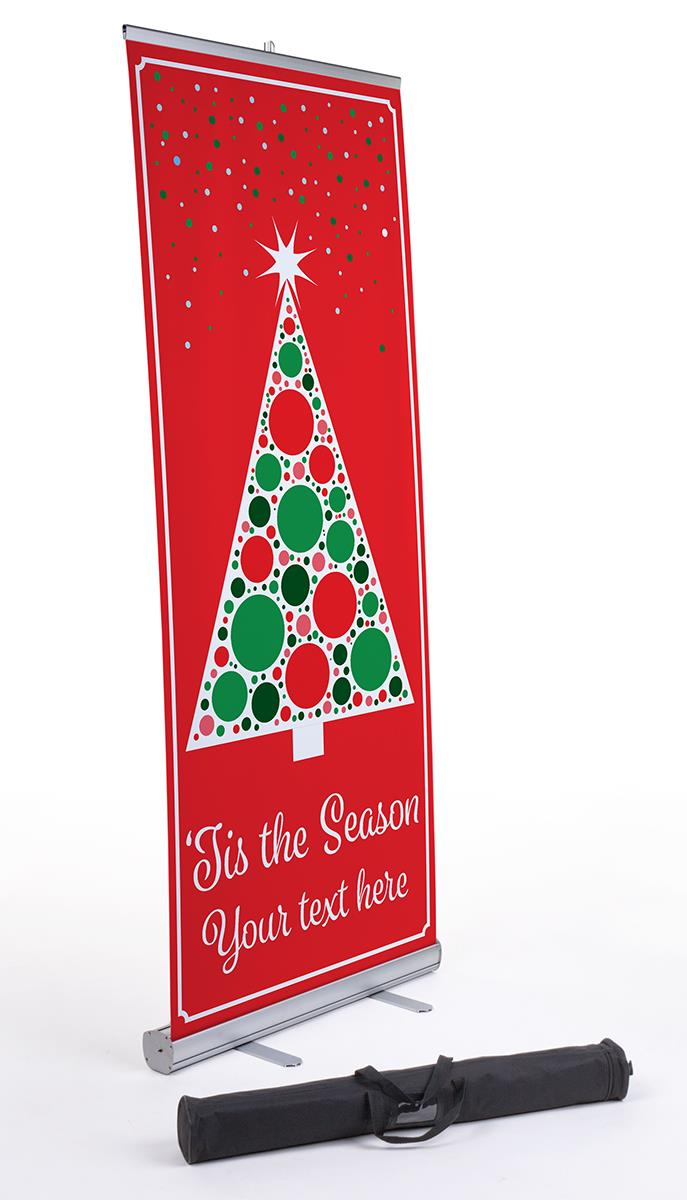 Business Banner With Christmas Tree Custom Text