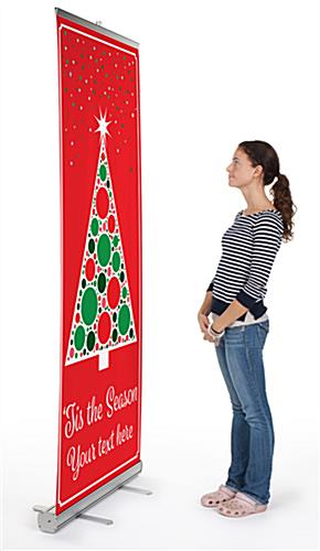 Business banner with Christmas tree with aluminum base