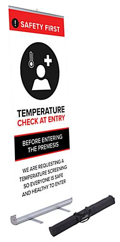 33x78 retractable temperature check banner with pre-printed graphics