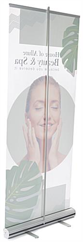 Transparent film roll up banner with aluminum base in silver satin finish
