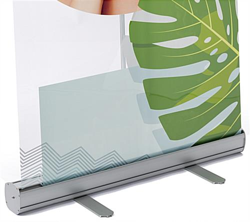 33 inch wide transparent film roll up banner with retractable economy base