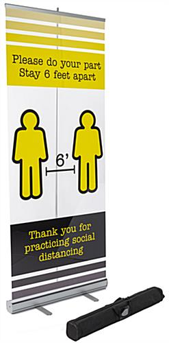 Printed social distancing banner on clear film with black nylon carry bag