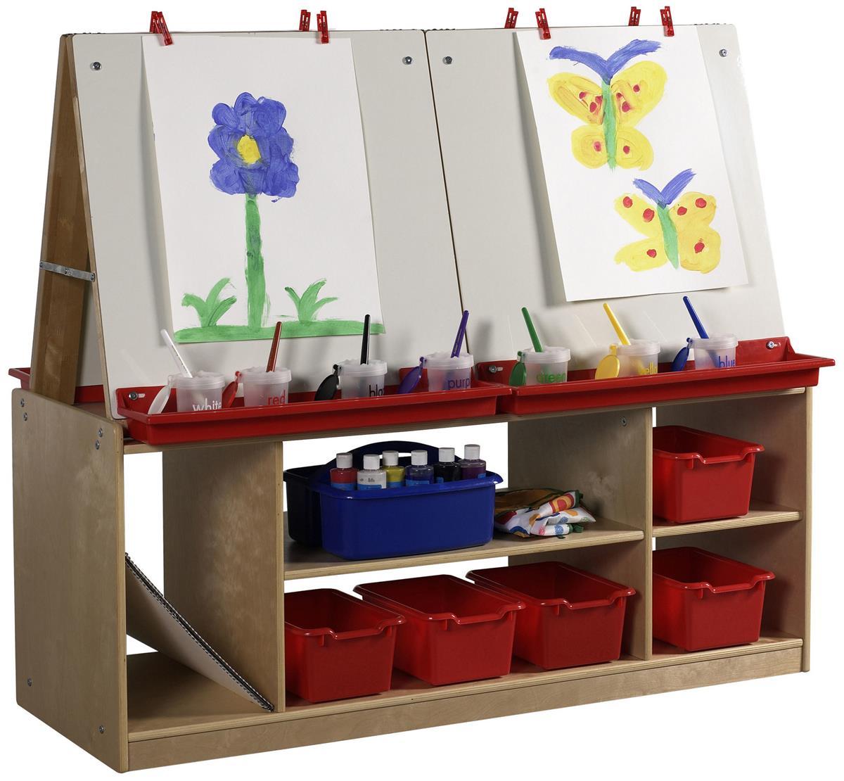 Children S 4 Station Art Easel With Storage 5 Birch Cubbies