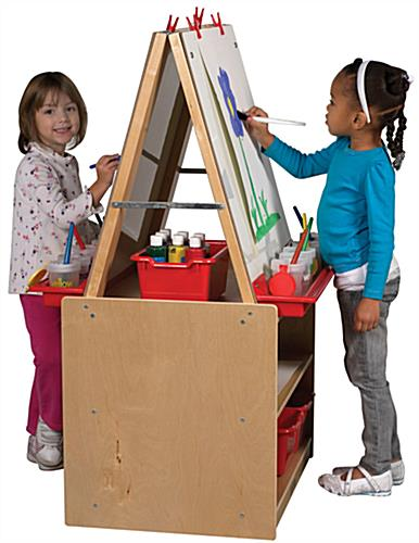 Double Sided Children's Art Easel with Storage & Red Trays