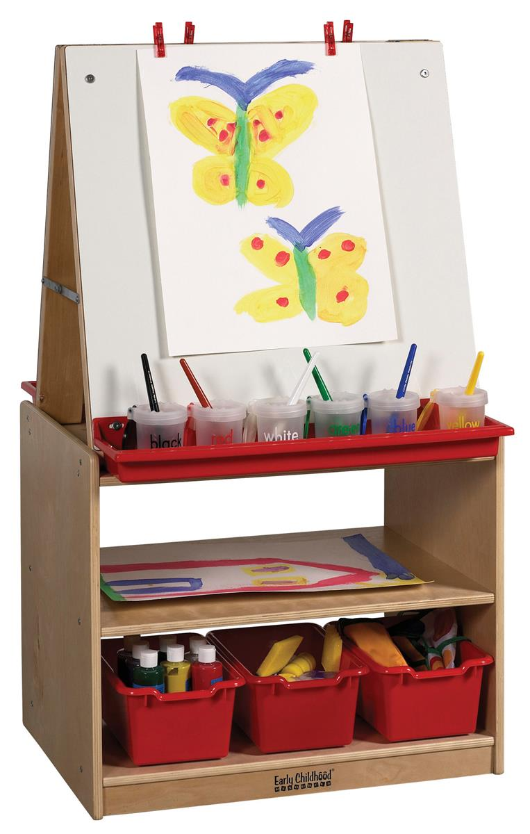 Double Sided Children S Art Easel With Storage Red Paint