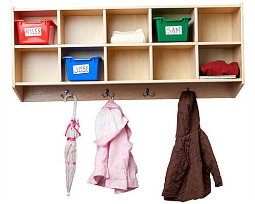 children s wall hanging coat locker 10 cubbies. Black Bedroom Furniture Sets. Home Design Ideas