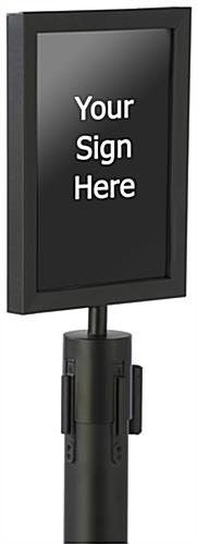 "Black 8.5"" x 11"" Stanchion Sign Holder for Crowd Control"