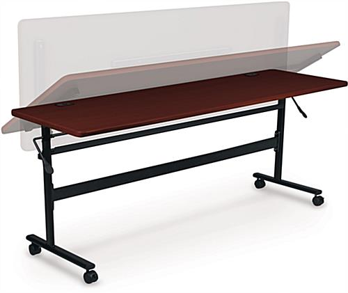 Mahogany Flipper Training Table with 4 Wheels