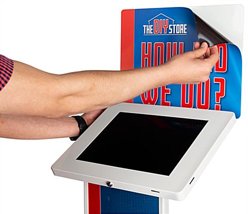 "Apply on printed kiosk graphics for 12.9"" IPELIT12 tablet stands"