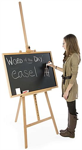 "24"" x 36"" Natural Chalkboard and Easel is Made of Wood"