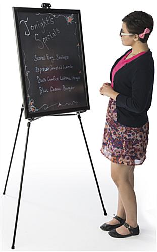 "22"" x 28"" Liquid Chalkboard and Aluminum Easel is at Eye-Level"