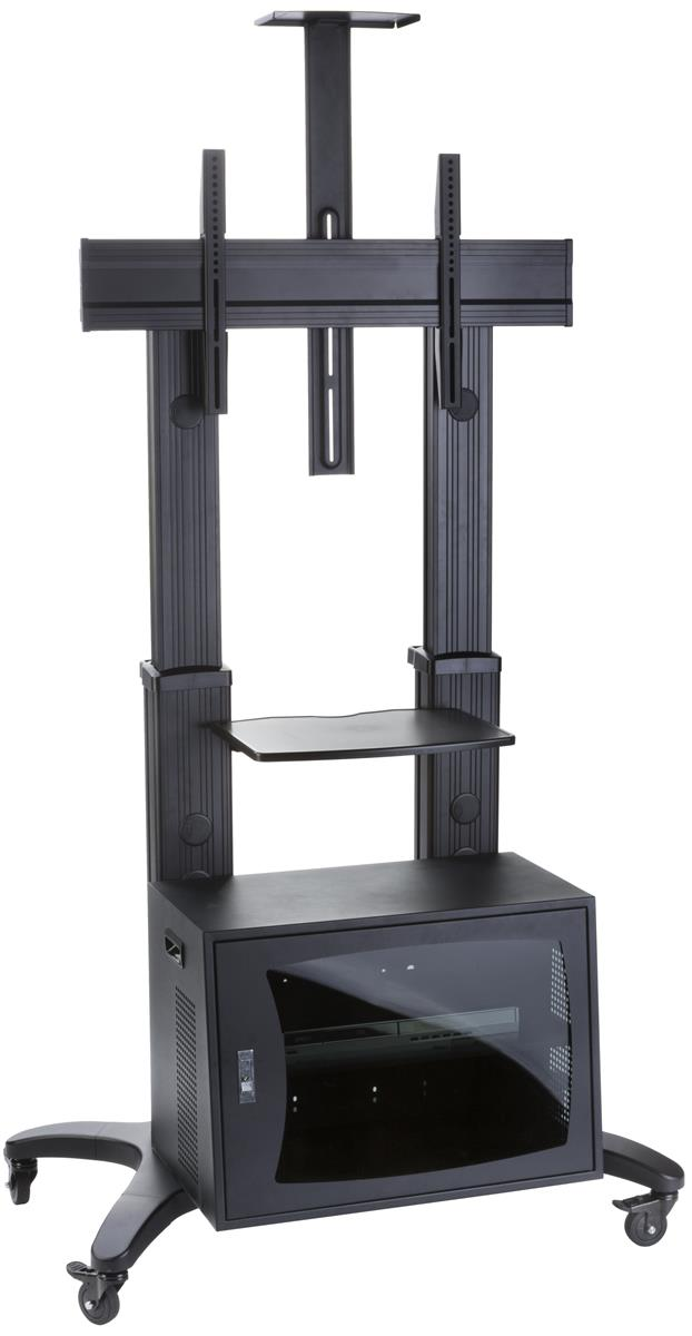 mobile tv rack with lockable storage swivel casters. Black Bedroom Furniture Sets. Home Design Ideas