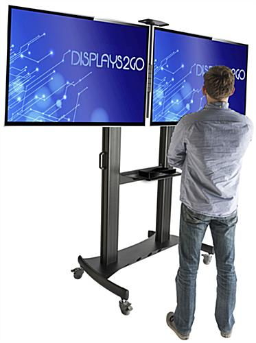 Dual Screen TV Stand with Stationary Bracket