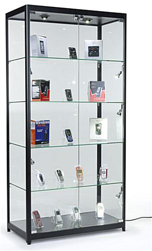 Locking Showcase Featuring Tempered Glass Supported By A Black Aluminum Frame